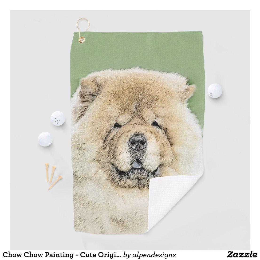 Chow Chow Painting Cute Original Dog Art Golf Towel Zazzle Com