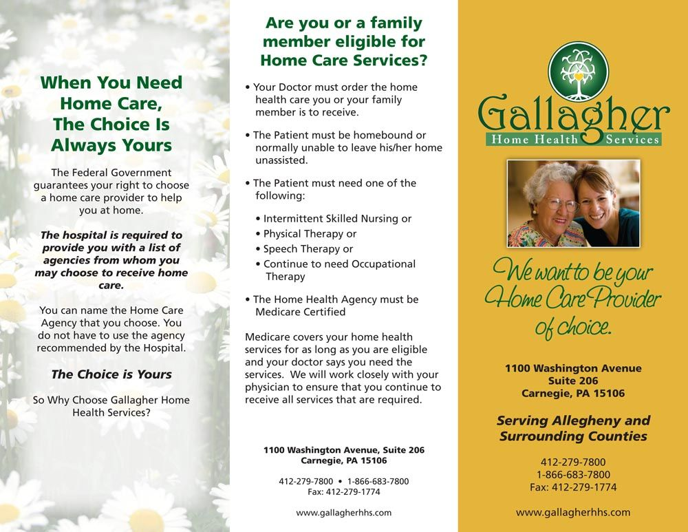 Gallagher Home Health Care flyer Home health care, Home
