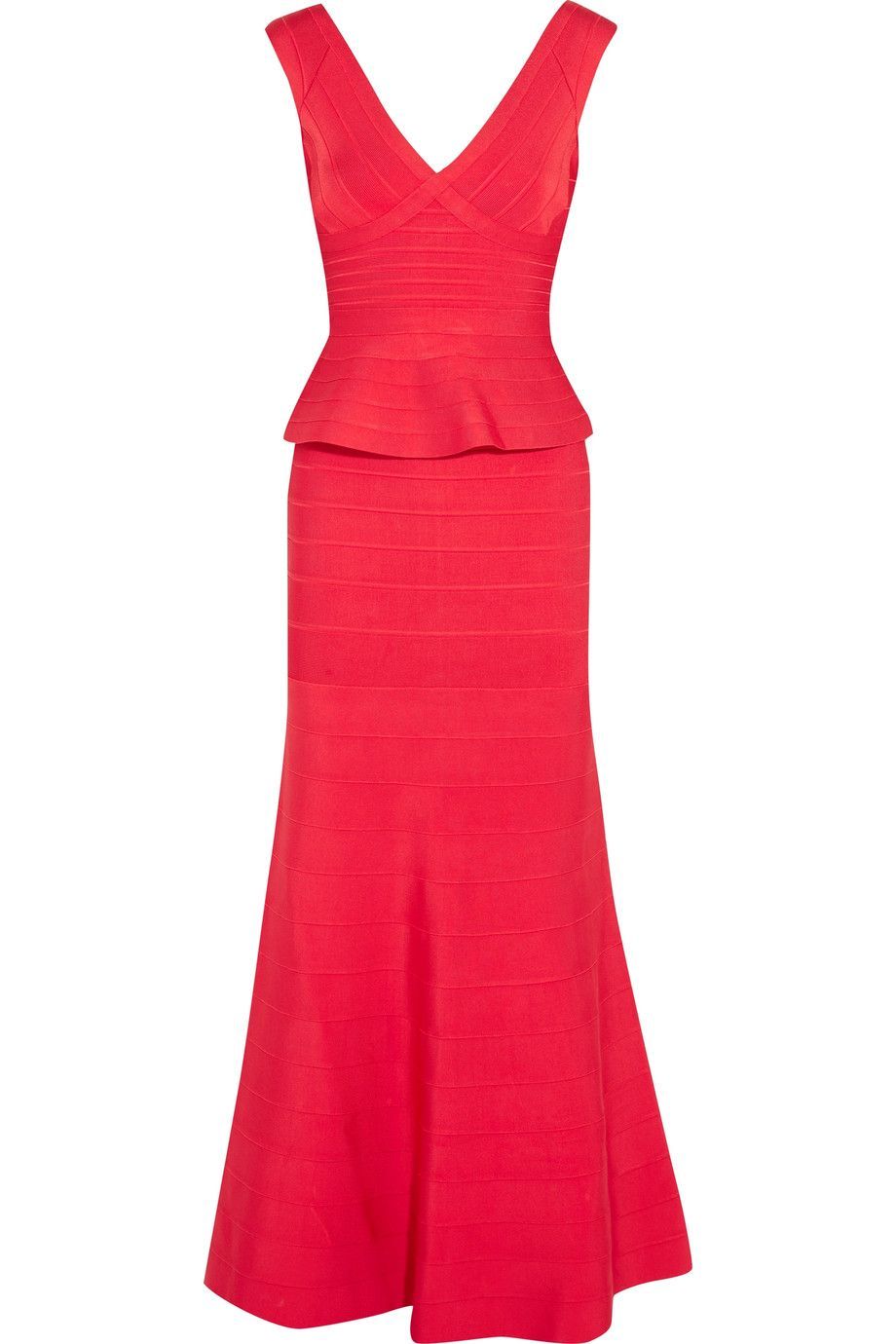 Leila\' Open Back Mermaid Bandage Gown, Coral Poppy   Herve Leger ...