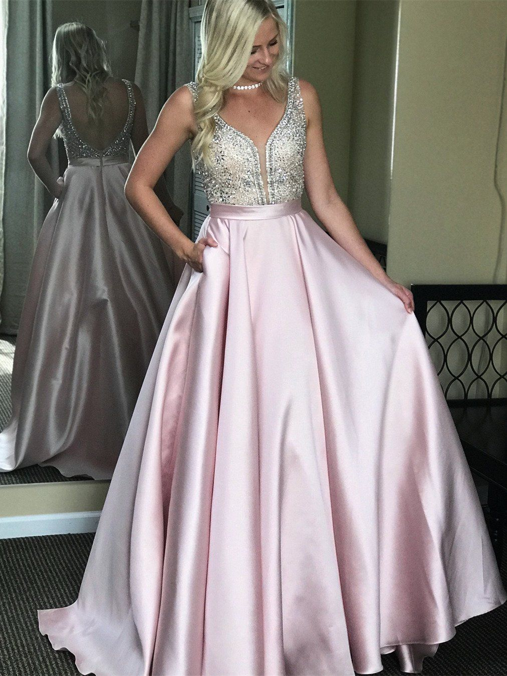 Beaded satin ball gown prom dresses backless sparkly prom