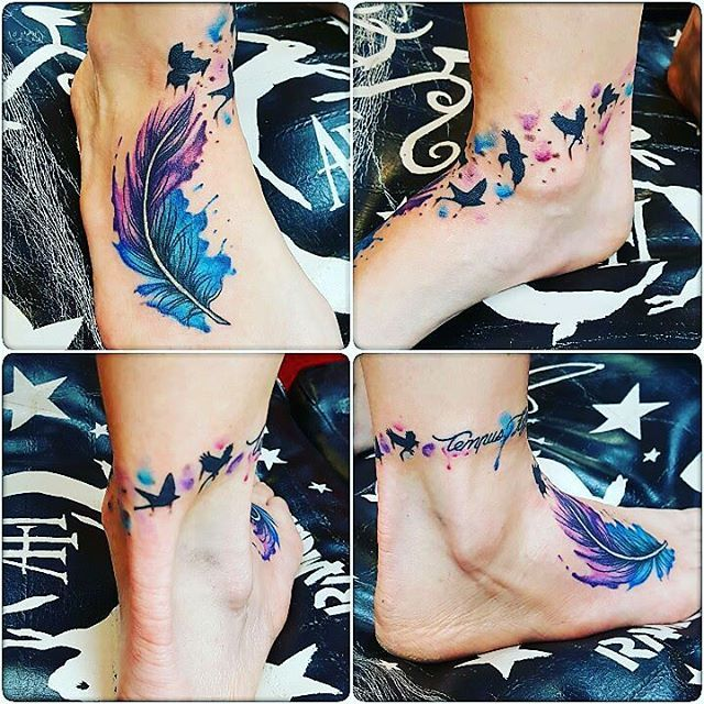 Watercolor Feather And Birds Ankle Tattoo Bird Ankle Tattoo Feather Tattoo Ankle Tattoos