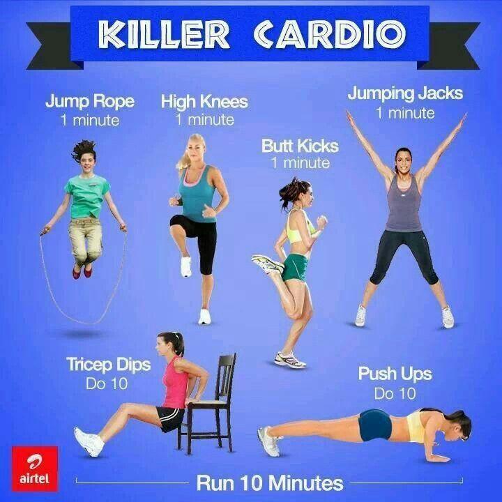Pintrest Workouts Fitness: Killer Cardio Exercise Workout Routine