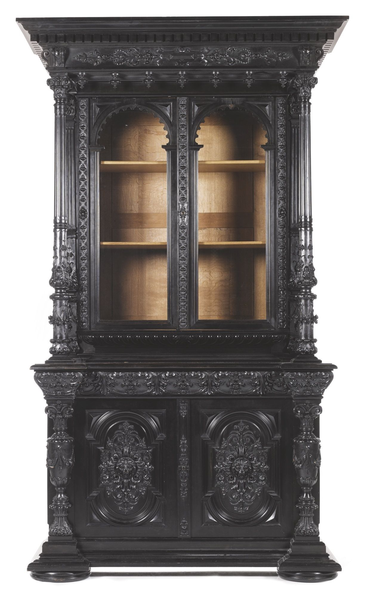 Vitrine Cabinet Carved Ebonised Pearwood Oak 1875 Édouard Lièvre