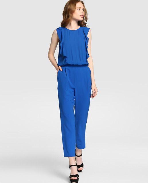 6f526eac080ce Mono de mujer Fórmula Joven azul con volante
