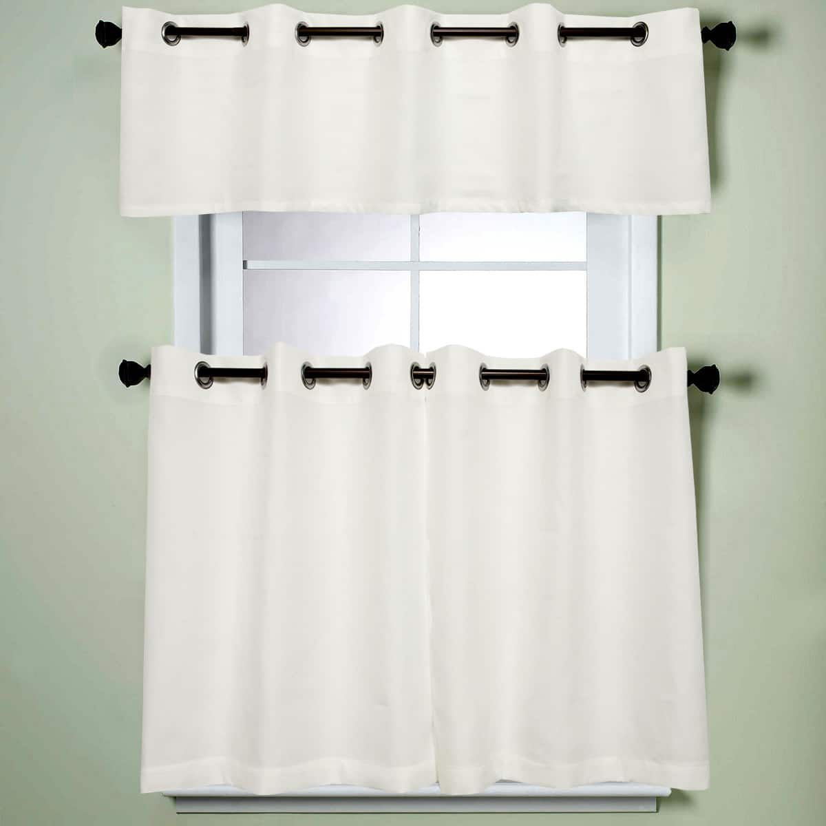 Modern Sublte Textured Solid White Kitchen Curtains With Grommets