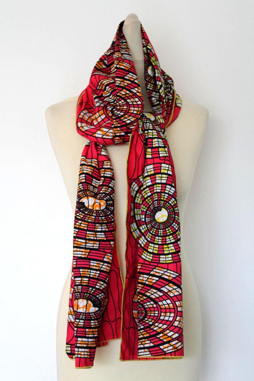 c0993bea6ec0a Foulard en Wax Echarpe Mode Femme Africaine Pagne N 87 de la boutique  Ashantisboutik sur Etsy