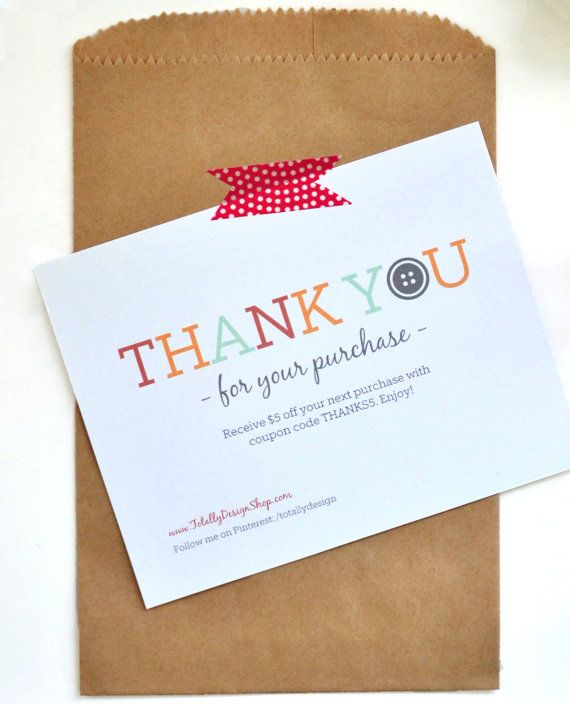 Thank you for your purchase notecard Printable INSTANT DOWNLOAD - customer thank you letter