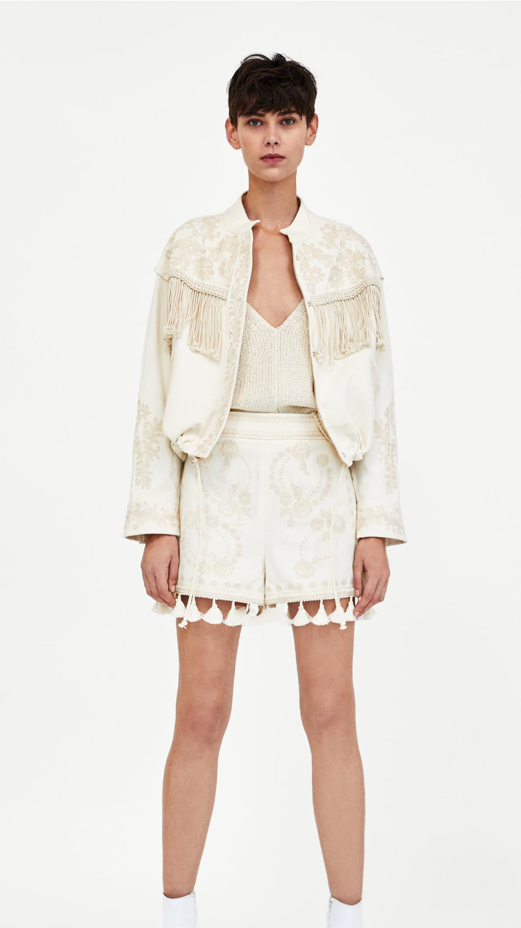 ad2bb48be90b Zara embroidered jacket with fringe
