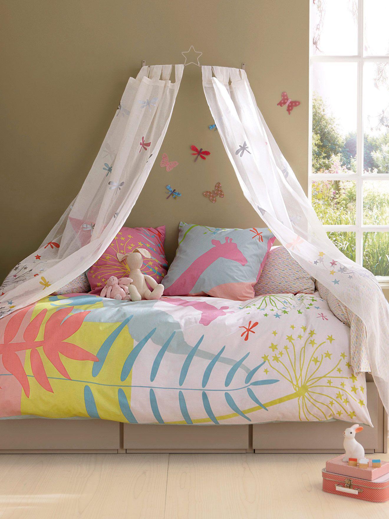 Rideau brodé #fleurs et #libellules thème Savana, Chambre #enfants ...