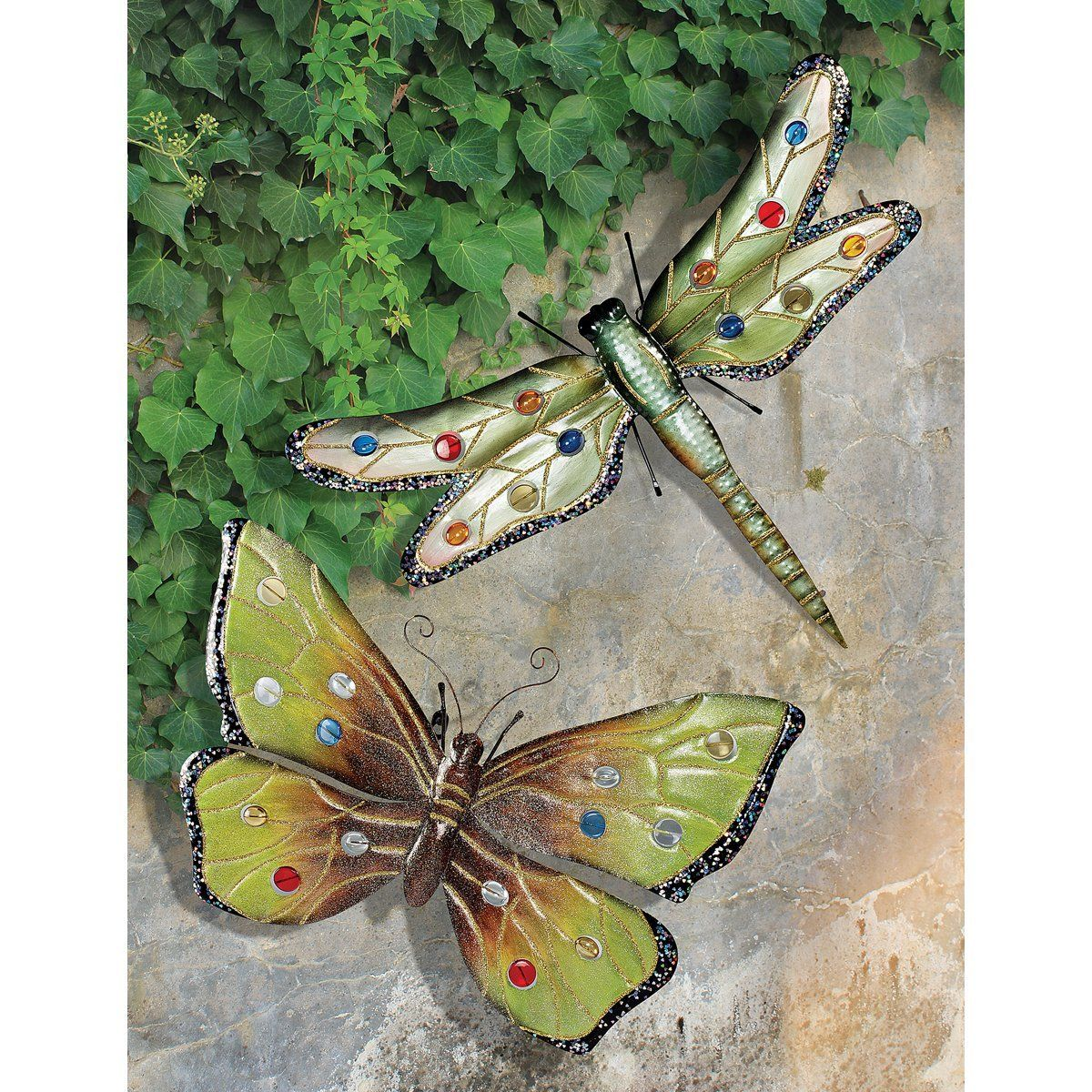 Amazon.com : Design Toscano Oversized Dragonfly and Butterfly Wall ...