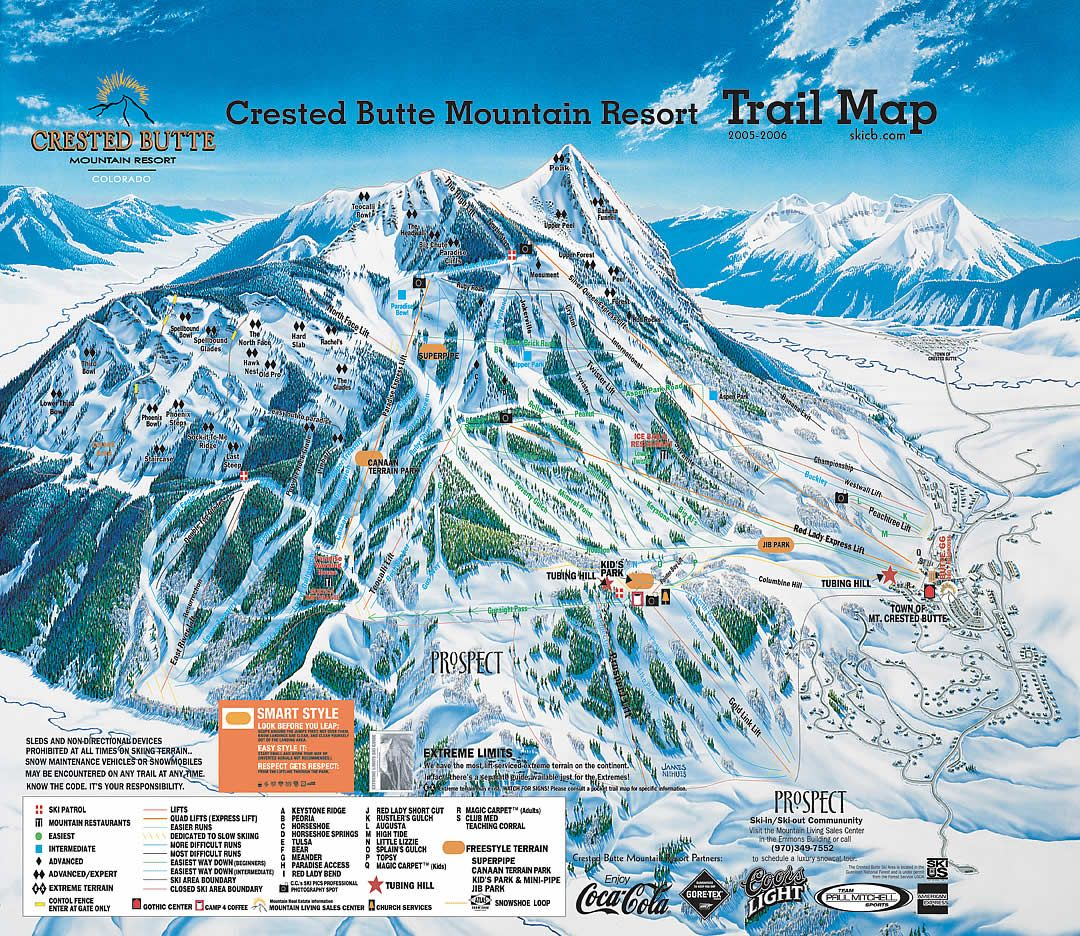 snow skiing in colorado | ski resort map provided by crested butte