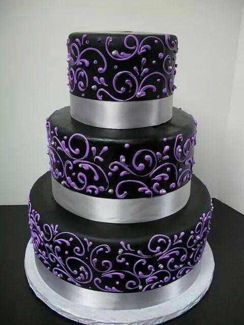 Purple, black, and silver wedding cake | Wedding Ideas | Pinterest ...