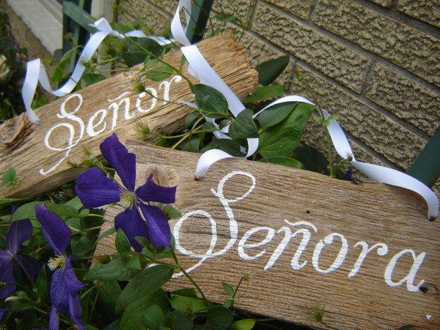Wooden Wedding Hand Painted Senor and Senora signs. $25.00, via Etsy.
