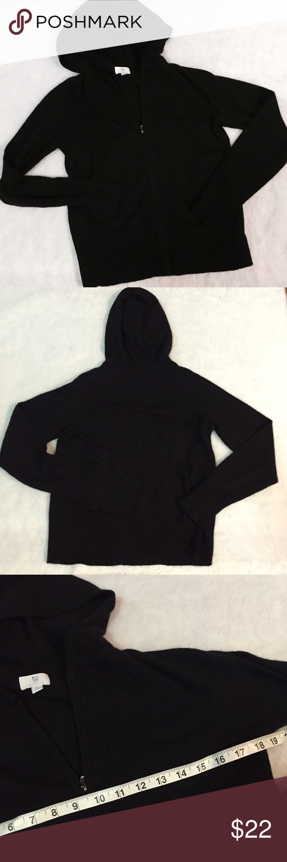 100% cashmere apt. 9 black hooded zip up sweater In very good condition. High quality Apt. 9 Sweaters