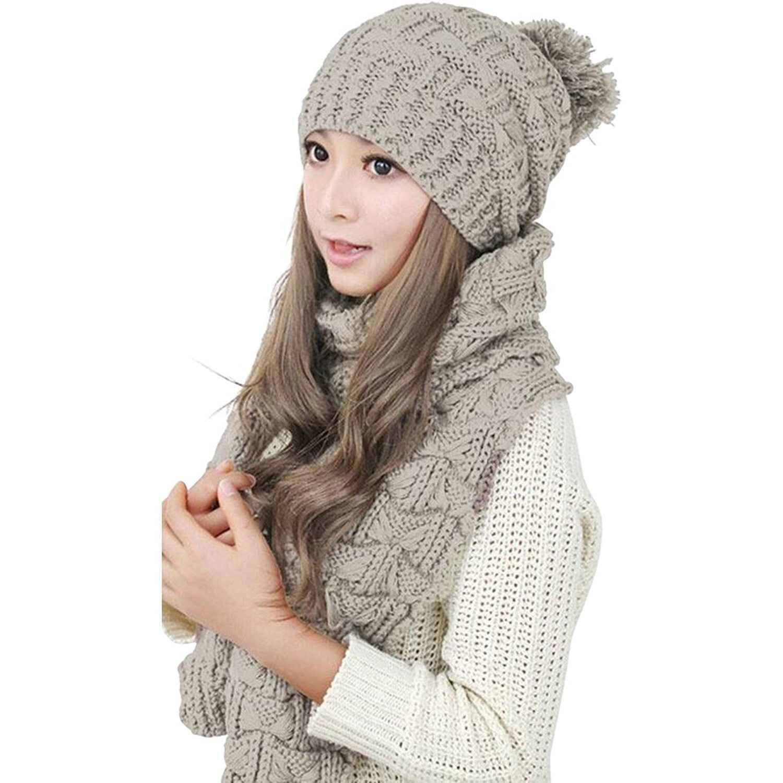 Women Winter Beanie Hat and Gloves Set Warm Knitted Thicken Hat Cap Xmas Gift