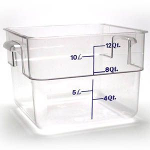 Cambro 12sfscw135 12 Qt Clear Square Polycarbonate Food Storage Container With Red Gradations Flour Storage Container Flour Storage Storage Containers