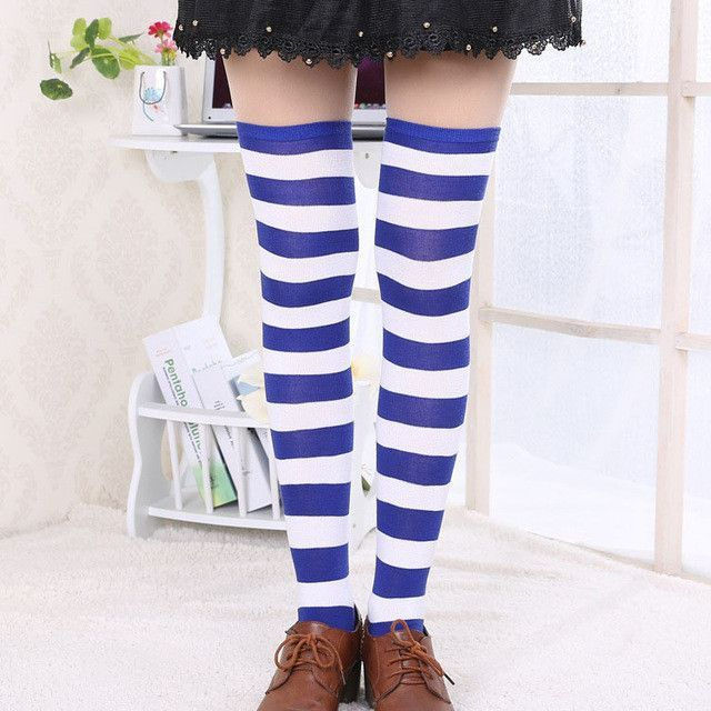 1cdf4f87302 Hot New Sexy Women Girl Striped Cotton Thigh High Stocking Over the Knee  Socks Fashion Stockings For Dating Cosplay Cheap Z1