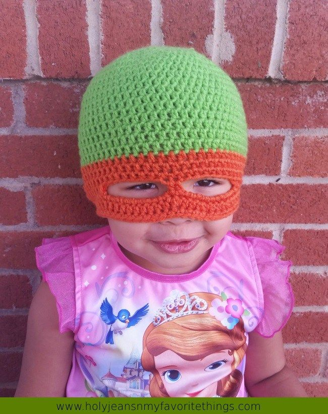 Free Crochet Patter Ninja Turtle Mask Hat | Socks and hats | Pinterest
