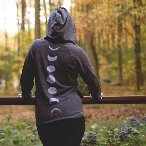 9e81afab8 Moon Phase Zip Hoodie - Womens Moon Zip Up - Cadet Collar Sweatshirt - Moon  Phase Sweatshirt - Moon