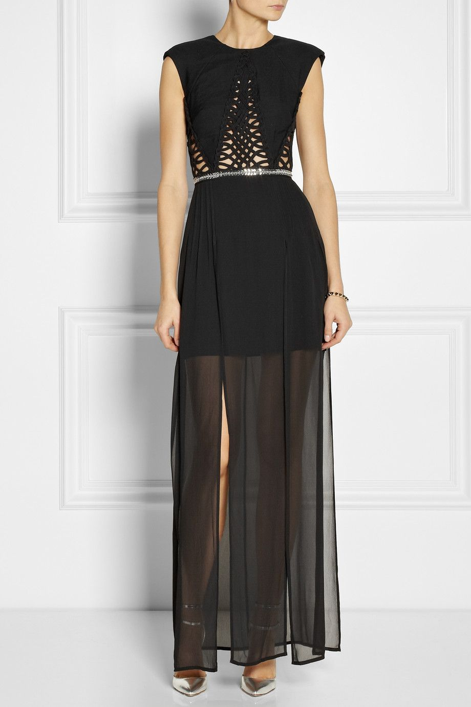 Sass Bide The Intuitive One Woven And Georgette Maxi Dress Net