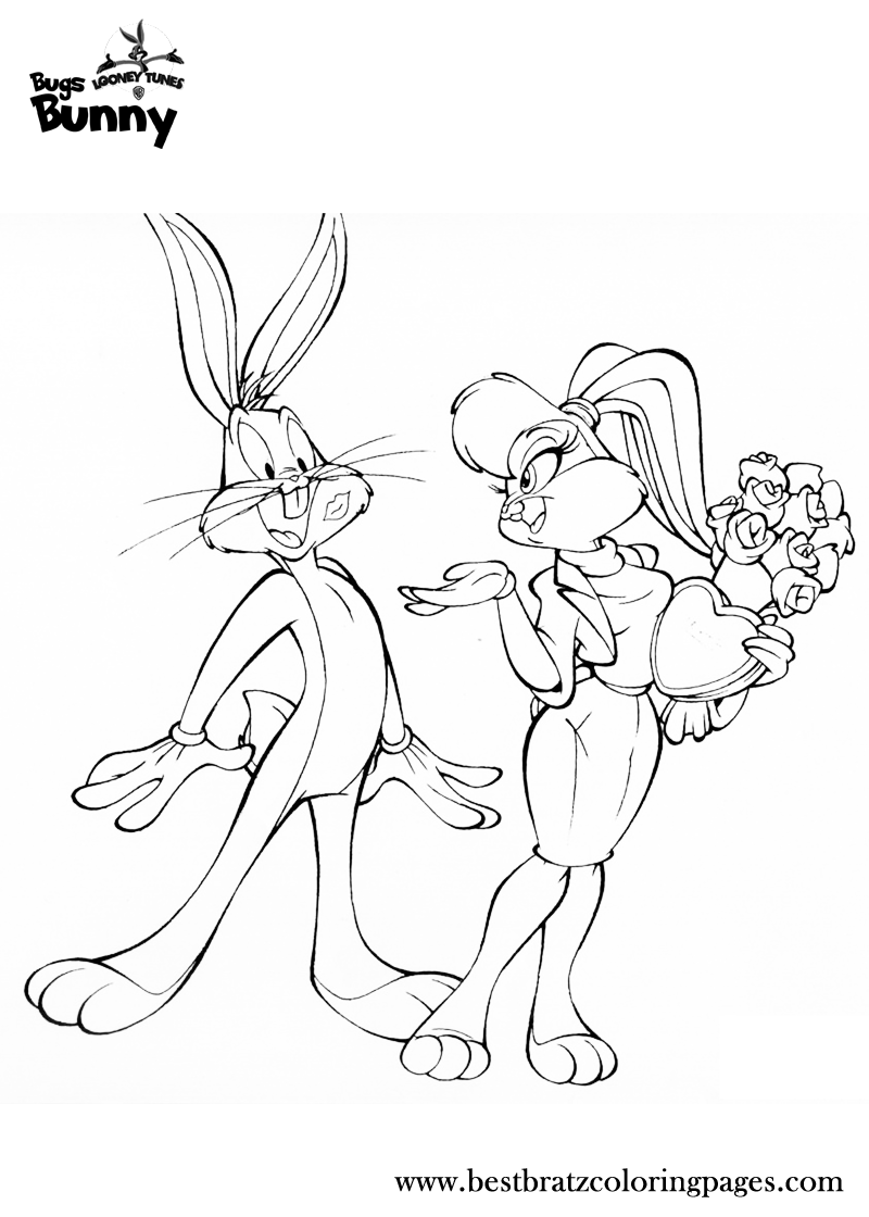Bugs Bunny With His Girl Friend Bunny Sketches Bunny Coloring Pages Bugs And Lola