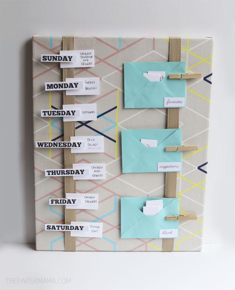 meal plan board diy the paper mama organizing pinterest. Black Bedroom Furniture Sets. Home Design Ideas