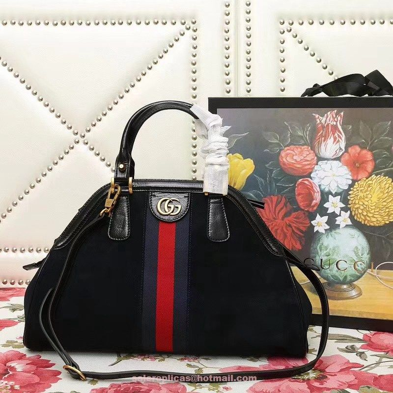 Gucci Re Belle Medium Top Handle Bag 516459 Black Luxury Handbags