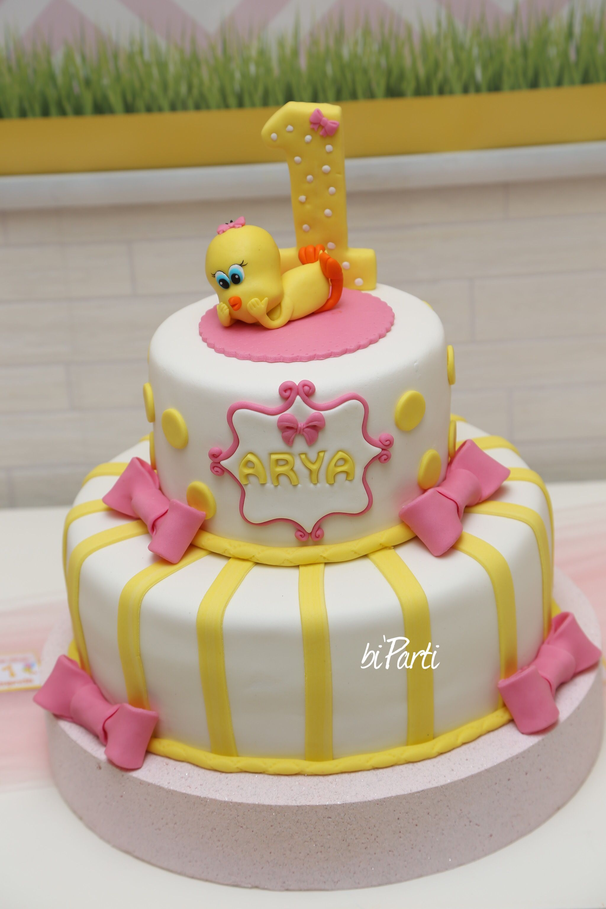 Tweety cake Yellow pink cake Baby girl cake First birthday cake