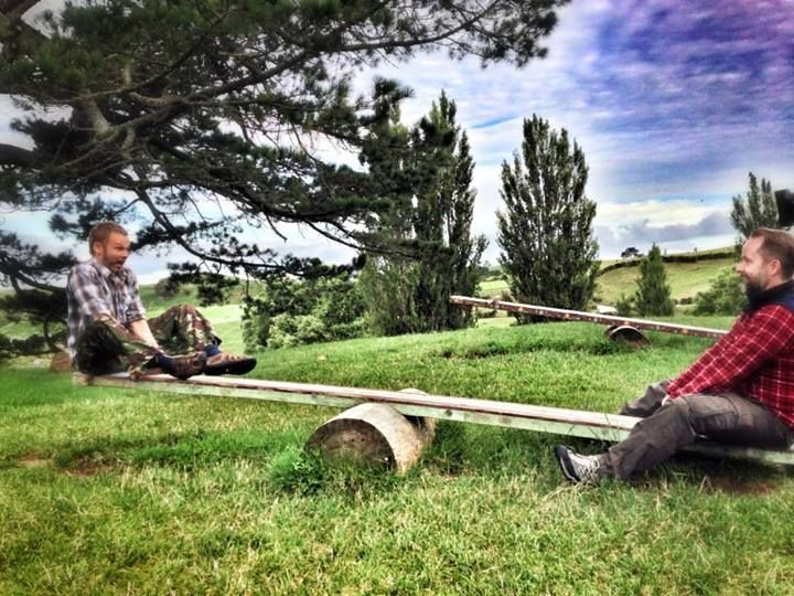 """""""Dominic and Billy playing on the seesaws in The Shire. The boys returned to Hobbiton Movie Set for the first time since filming for Dominics show 'Wild Things' airing on BBC America this spring."""""""