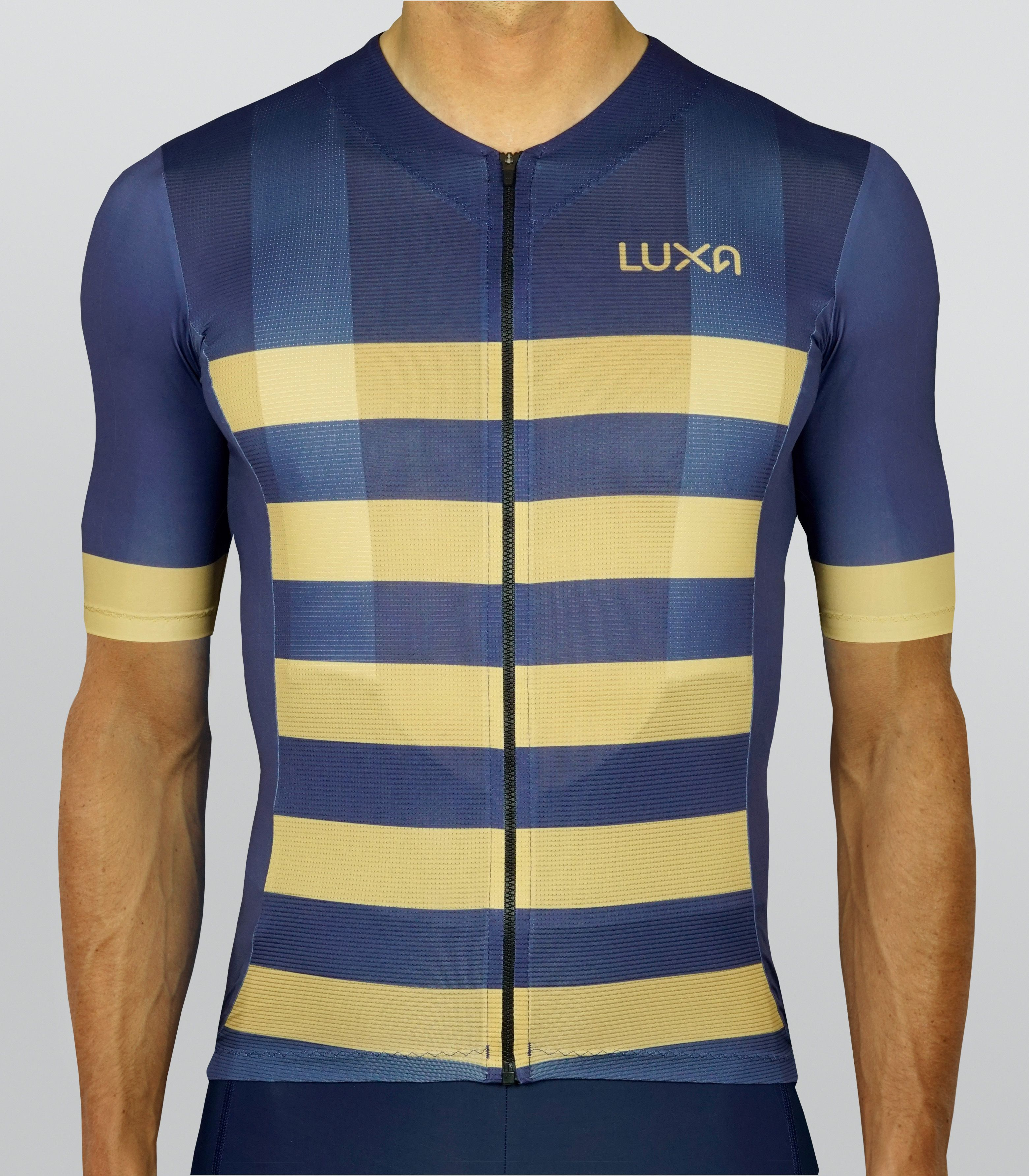 Navy blue cycling jersey from the Bling Navy collection. Dark navy blue  colors with gold stripes. Recommended in pair with navy blue shorts. e5add1091