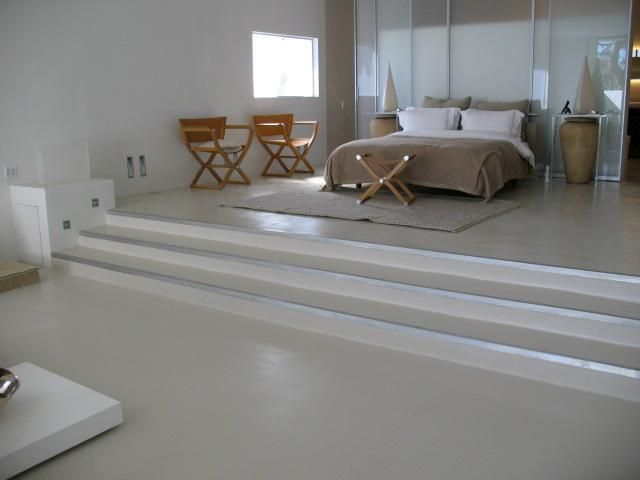 Modern Bedroom Flooring Stairs Made With SEMCOs X Bond Seamless Stone