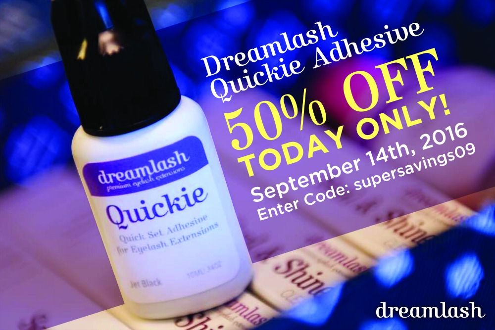 """Hurry  TODAY only! Get our Dreamlash Quickie Adhesive for 50% off the original price using PROMO code: supersavings09    NOTE: You also have the option to keep your order on file if you choose not to have it shipped right away   Use link in bio to order @dreamlash_academy  Should eyelash extensions take 3 hours to apply? Definitely not!   At Dreamlashes, we don't waste time with """"beginner"""" adhesives. Beginning from Level 1, you learn with our fast-set adhesive so that you can begin"""
