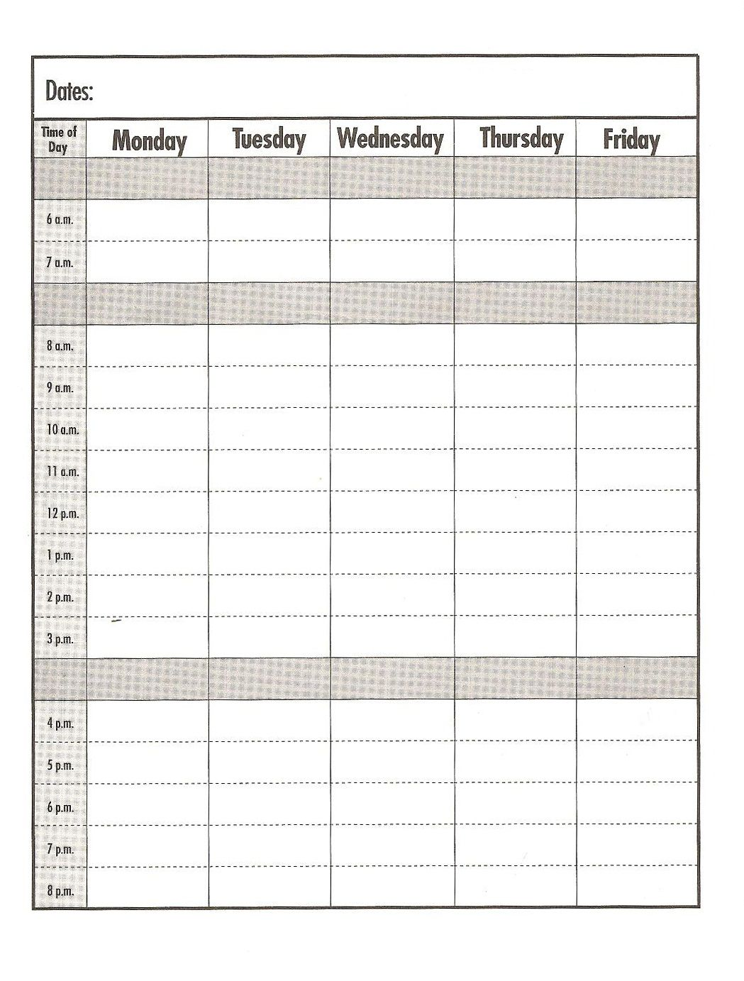 weekday  schedule template  print out  education  school