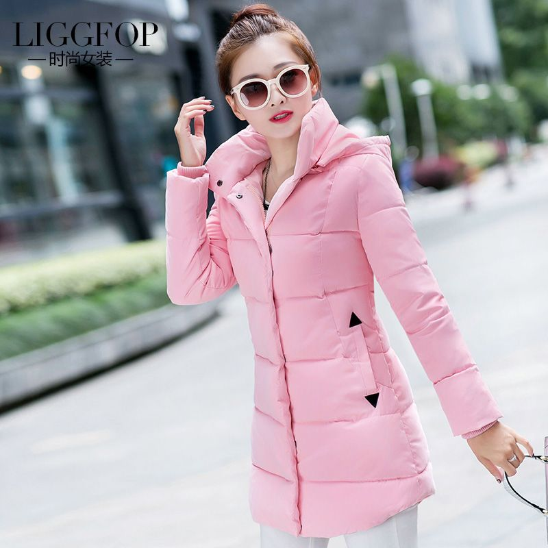 8d2d68a3da9b8    Click to Buy    2017 winter jacket women Liggfop gentlewomen wadded jacket  female medium-long slim casual women s thin cotton-pad…