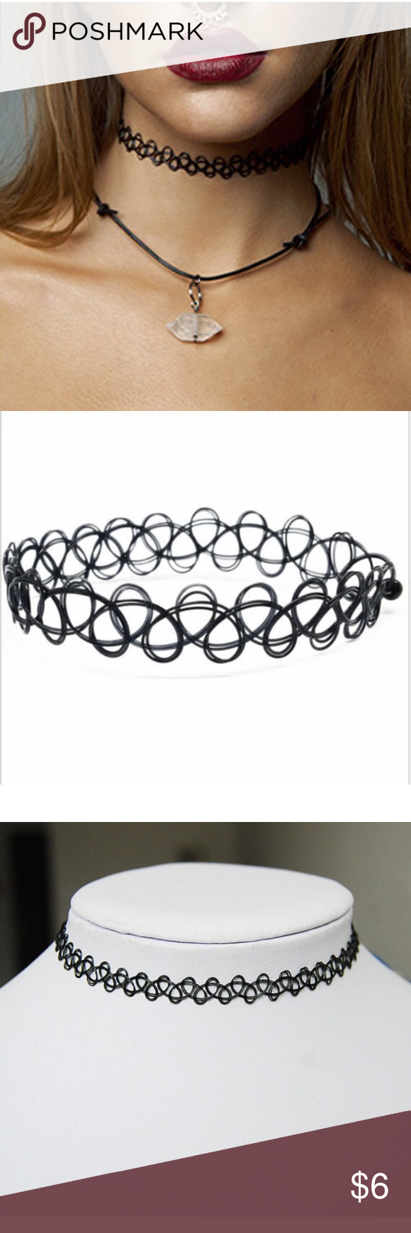 Tattoo Choker - Stretch Necklace Black Retro 90s Stretch Necklace New Black Retro Henna Vintage Elastic Boho 90s   - Great way to add flair to any outfit  - Can be worn on neck, wrists and ankles  - Stretches to fit anyone's neck  Package Included 1 x Stretch Tattoo Choker Necklace Jewelry Necklaces