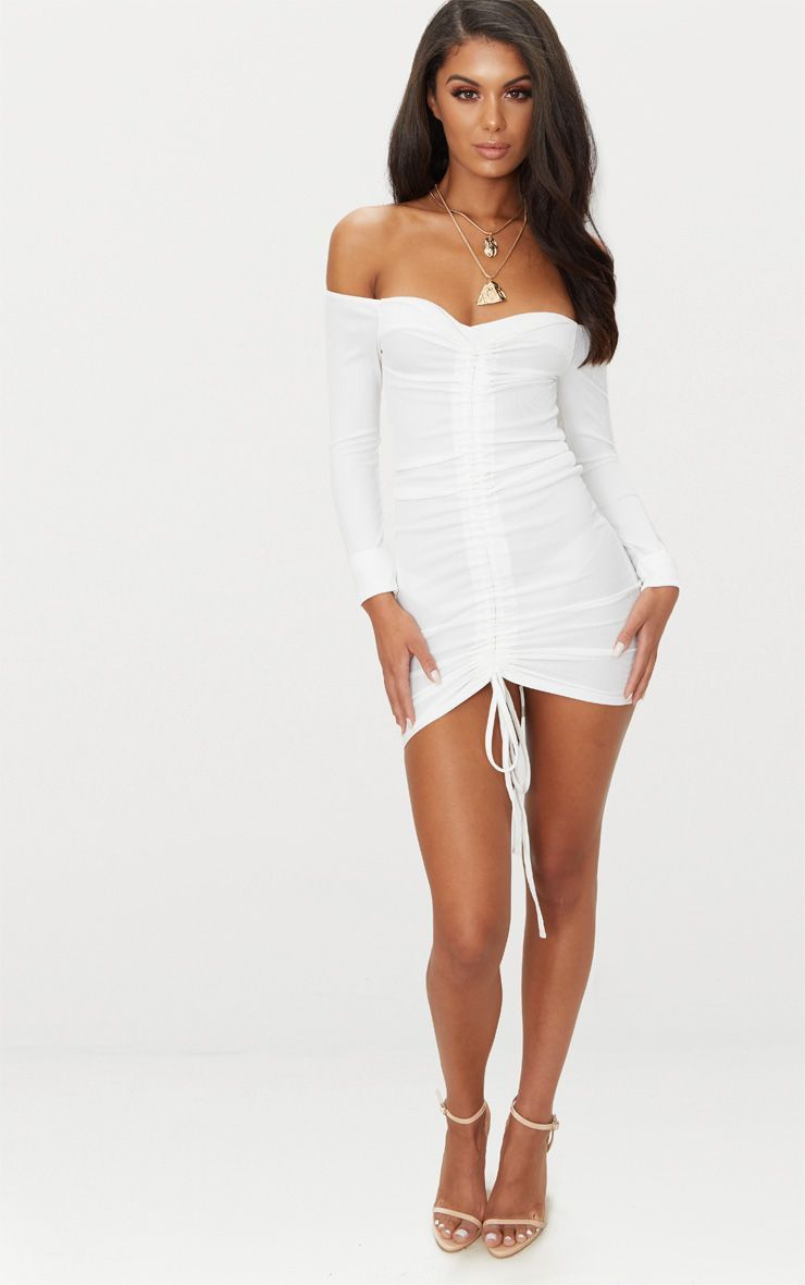 81efcca810b8 White Ribbed Long Sleeve Ruched Bodycon Dress