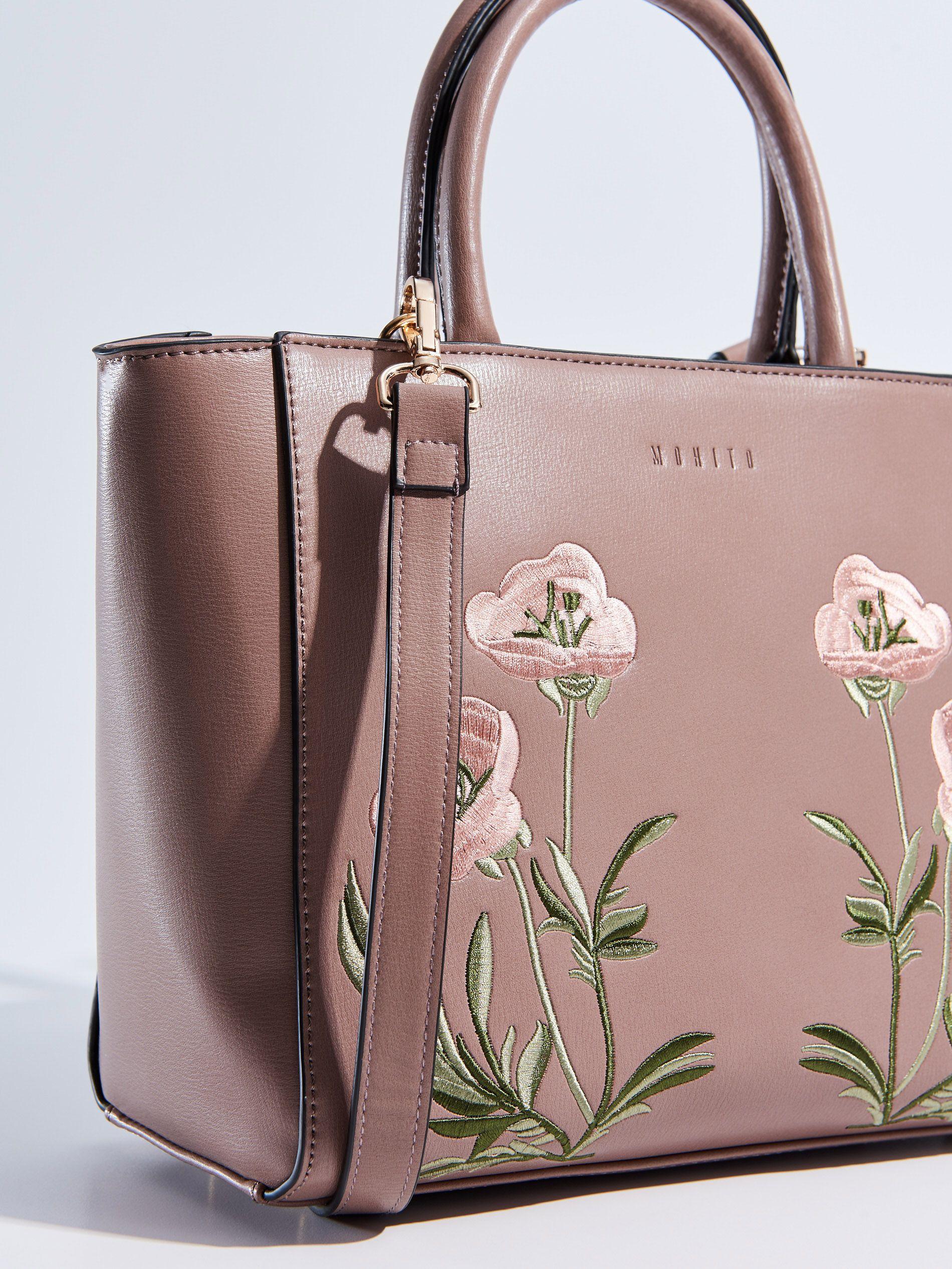 Mala Torebka Z Haftem City Bag Wkrotce W Sprzedazy Rozowy Mohito Bags Embroidered Handbag Shoe Bag