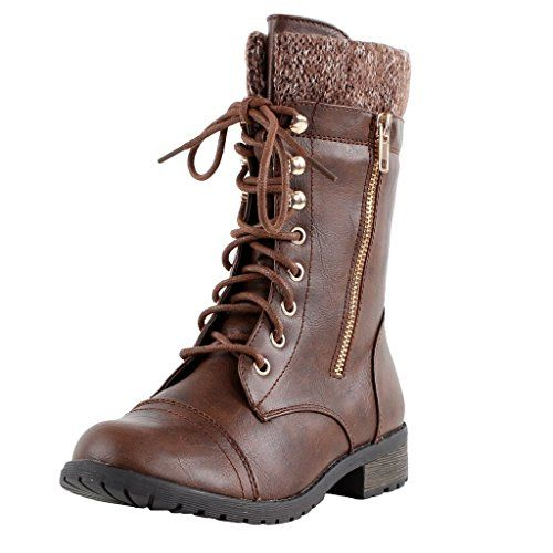 Forever Link Womens Mango-31 Round Toe Military Lace Up Knit Ankle ...