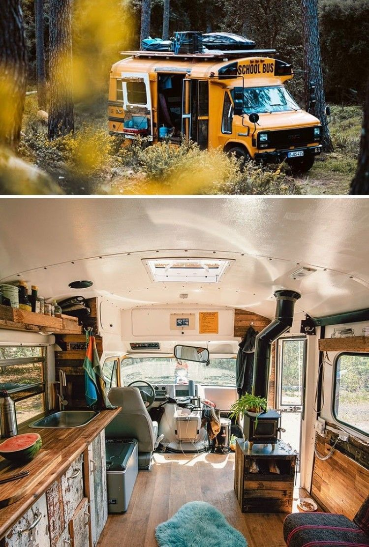 25 Best School Bus And Van Conversions Into Tiny House Tiredbee Com Van Life Diy Van Living School Bus Camper