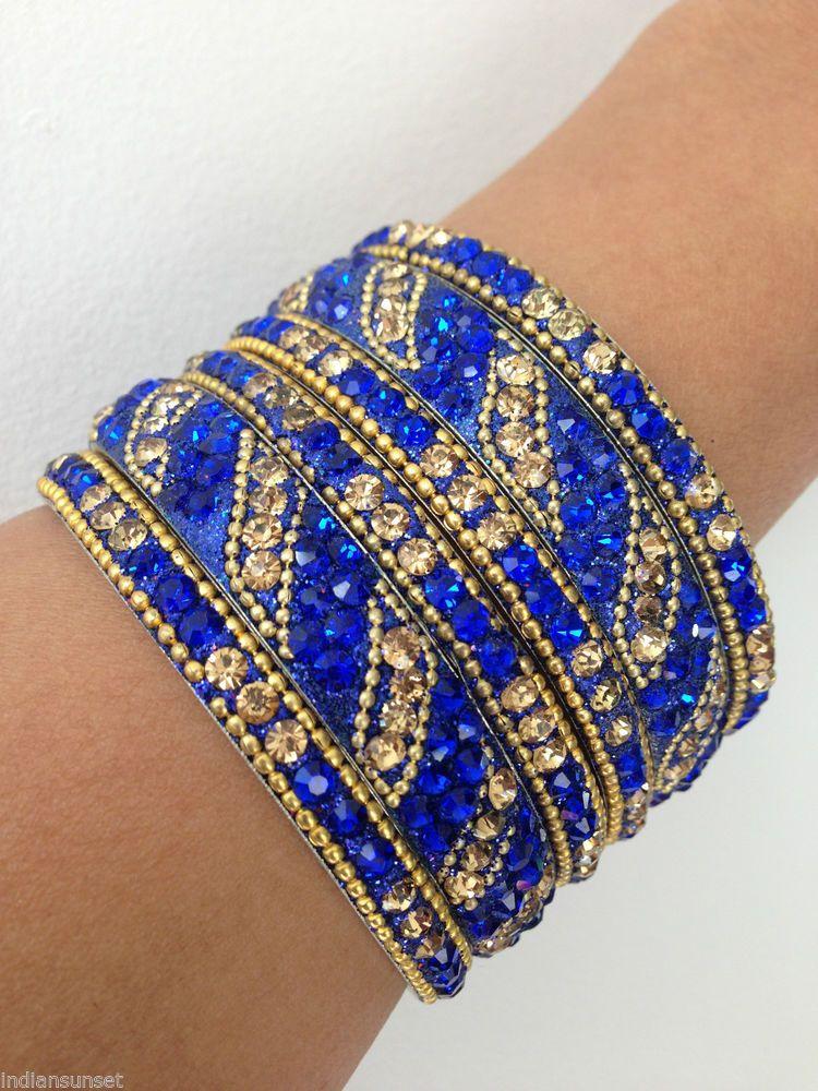 New Indian Bollywood Dance Glitter 6 Bangles Bracelets Royal Blue