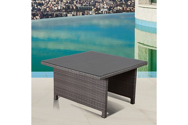Wine And Dine In High Class Style At The Bellagio Patio Dining Table.  Popular Hand Woven Gray Wicker Found On The Tableu0027s Sides And Along The  Tabletopu0027s ...