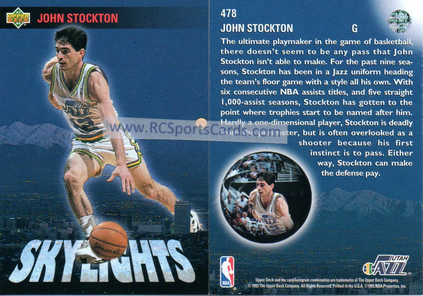 199394 john stockton jazz 2 upper deck skylight cards