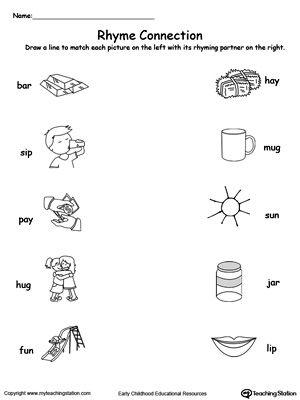 printable worksheets rhymes rhyming fun preschool kindergarten ...