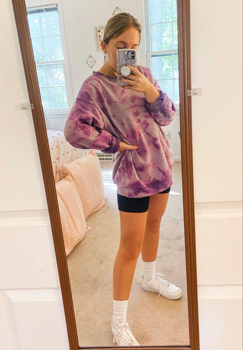 Purple Bleach Dyed Oversized Crewneck Sweatshirt |