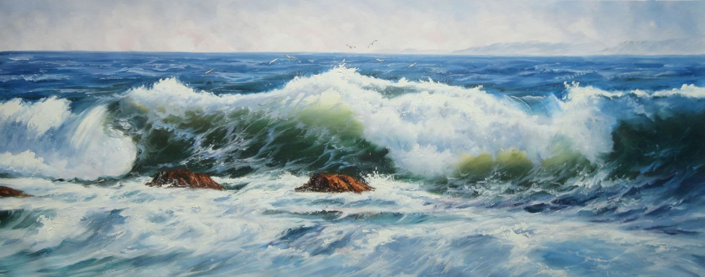 Seagulls Over Azure Blue Sea Waves Seascape Naturalism Oil Painting  28 x 70 inches  :)