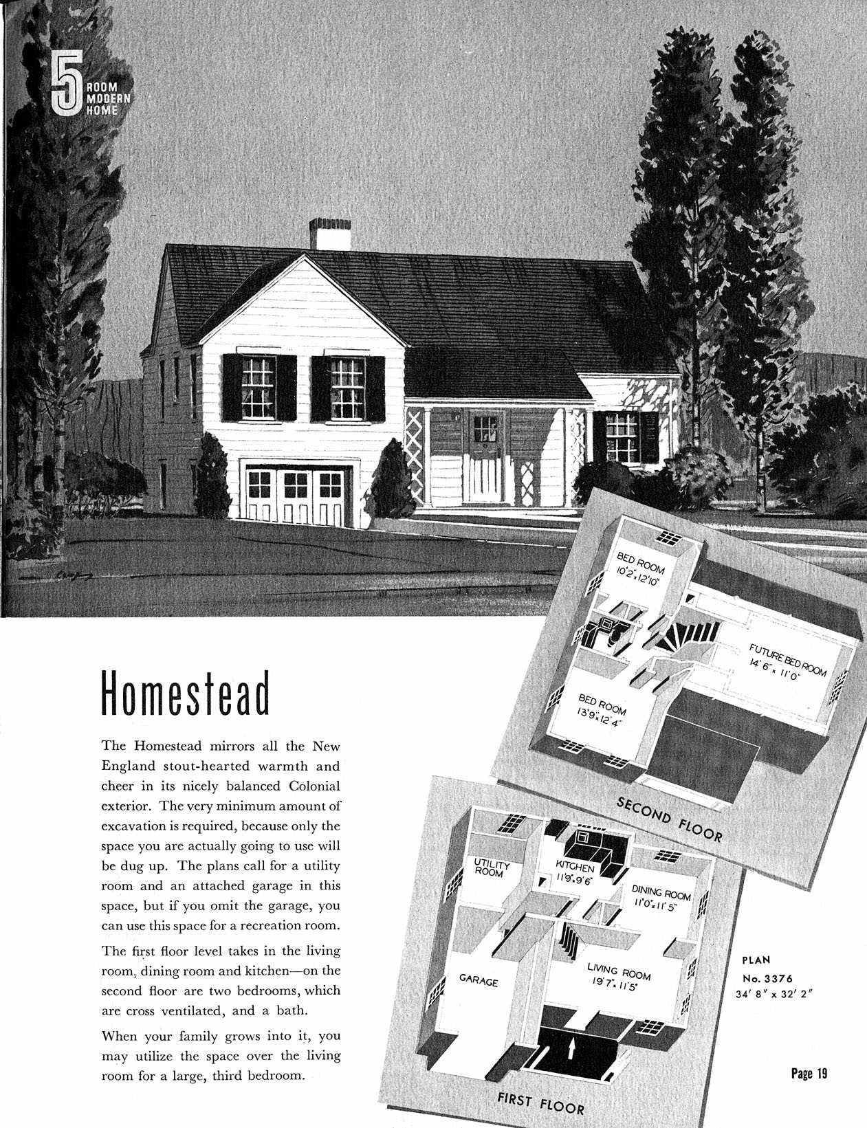Sears Homestead Plan No. 3376 The Book Of Modern Homes By Sears, Roebuck  And Co.