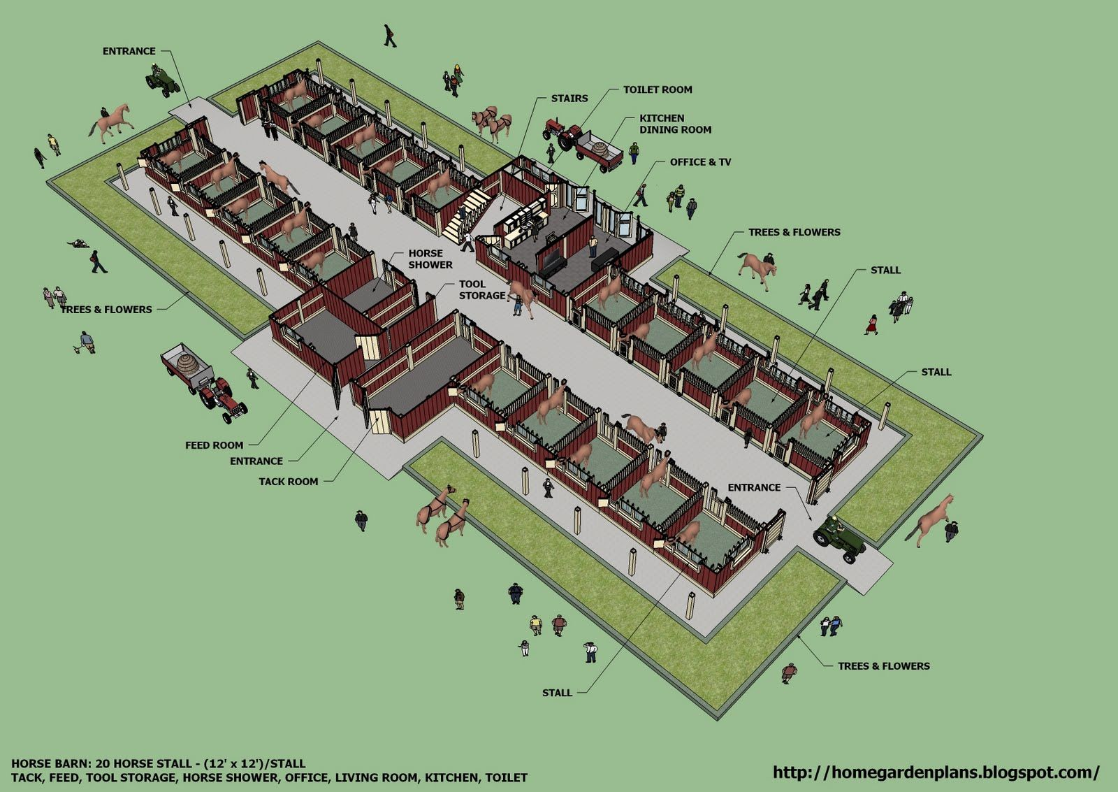 Home garden plans b20h large horse barn for 20 horse for Horse farm house plans