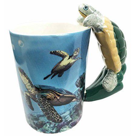 Ocean Marine Reef Giant Leatherback Sea Turtle 12oz Ceramic Mug Coffee Cup Home Kitchen Decor