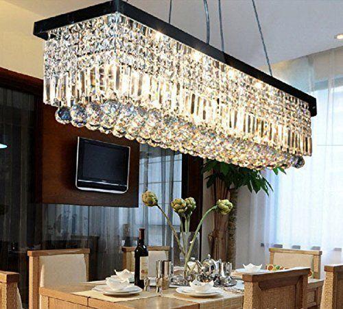 7Pm W32 X D10 Modern Rain Drop Rectangle Clear K9 Crystal Brilliant Crystal Dining Room Chandeliers Design Ideas