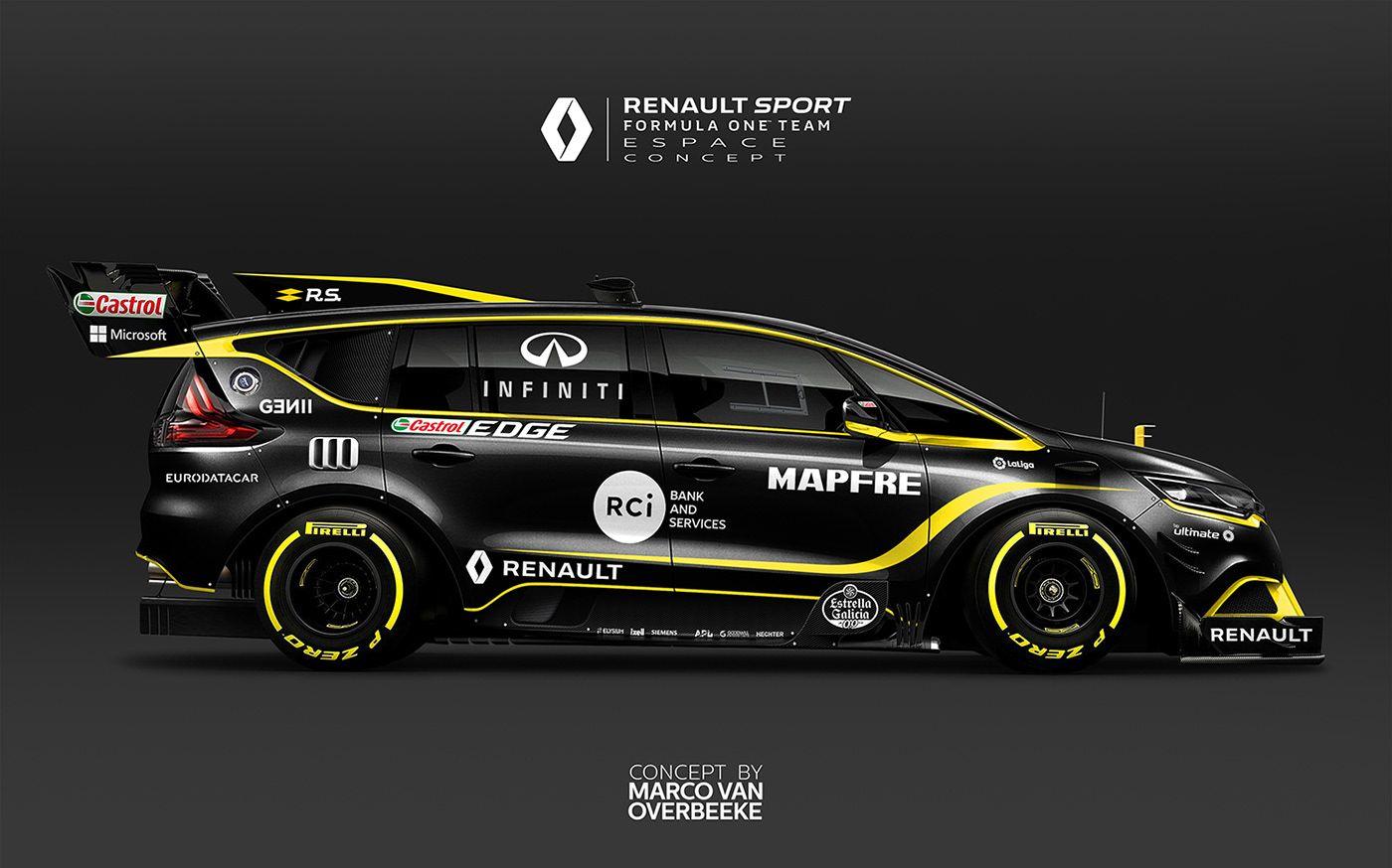 Renault Espace F1 R S 18 Formula One Livery Concept Espace F1 Renault Vehicle Signage [ 874 x 1400 Pixel ]